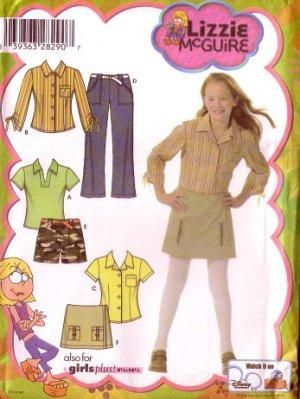 SIMPLICITY 4977 Girls Lizzie McGuire Shirt Pants Skort Pattern 8-16