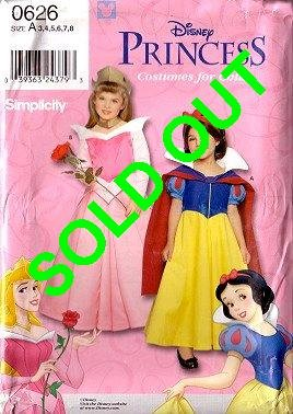 SIMPLICITY 0626 9384  Disney Princess Snow White & Sleeping Costume Beauty Dress Pattern Sizes 3-8