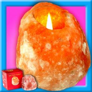 Salt Crystal Tealight Feng Shui Candle Holder -Natural