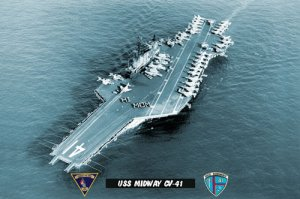 "USS Midway CV-41 ""HI MOM"" (8x12) Photograph"