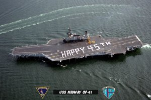 """USS Midway CV-41 """"Happy 45th"""" (8x12) Photograph"""