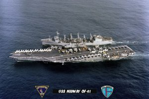 USS Midway CV-41 at Sea During UNREP (8x12) Photograph