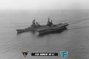 USS Midway CV-41 steaming alongside the Battleship USS New Jersey BB-62 (8x12) B&W Photograph