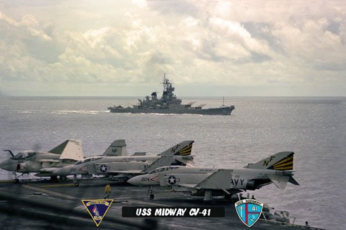 USS Midway CV-41 with USS New Jersey BB-62, VF-151 & VA-115 (8x12) Photograph