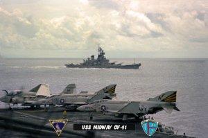 USS Midway CV-41 with USS New Jersey BB-62, VF-151 & VA-115 (8x12) Photograph