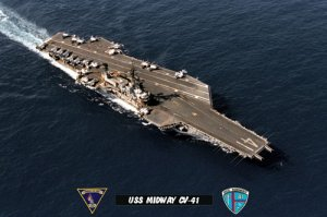 USS Midway CV-41 View of Flight Deck From Overhead (8x12) Photograph