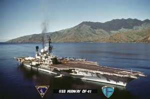 USS Midway CV-41 Arriving Subic Bay Philippines 2 (8x12) Photograph
