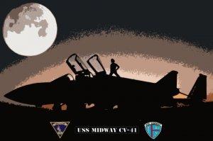 USS Midway CV-41 Moon Over FA-18 Super Hornet (8x12) Art Photograph