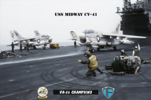 USS Midway Squadron VA-56 Champions Ready for Launch (8x12) Photograph
