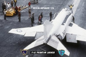 USS Midway  F-4J Phantom Readies for Launch (8x12) Photograph