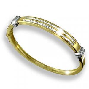 14k Gold Women's Diamond Bangle Bracelet with baguette diamonds 1.25 ctw