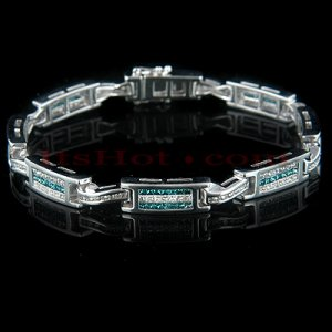 14k Gold Women's Diamond Tennis Bracelet with Blue and White Diamonds 4.19 ctw
