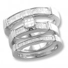 14k Gold Diamond Bridal Ring Set with princess cut diamonds 0.80 ctw.