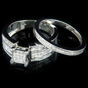 14k Gold Diamond Engagement Ring Set with princess cut diamonds 1.60 ctw