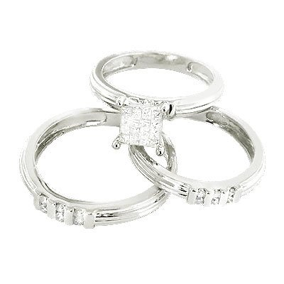 14k gold diamond wedding Ring set with round and princess cut diamonds 0.67 ctw.