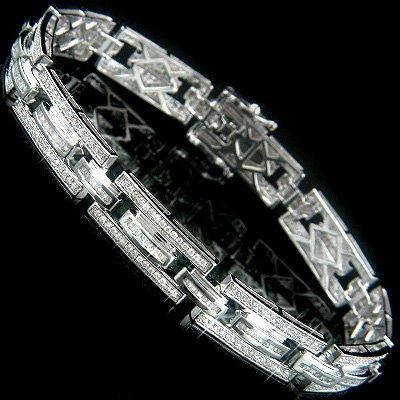 14k Gold Diamond Bracelet with Baguette and Round Cut Diamonds