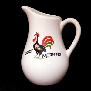 Vintage GOOD MORNING ROOSTER MILK PITCHER...Ca. 1960s