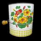 Vintage 1950s FLOUR SIFTER with YELLOW and ORANGE NASTURTIUMS