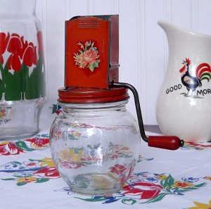 Vintage 1950s RED PAINTED NUT CHOPPER GRINDER with FLORAL DECAL