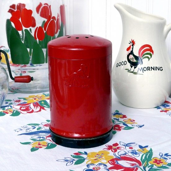 Vintage Advertising Piece...1950s RED PAINTED SHAKER with OLD DUTCH CLEANSER GIRL LOGO