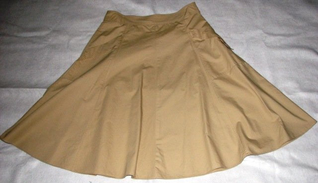 Isaac Mizrahi Cotton Tan School-Girl Skirt (size: 10)