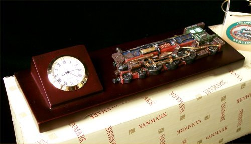 1920's Steam Train Clock Mounted On Wood