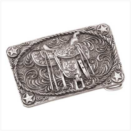 Pewter Saddle Belt Buckle