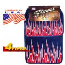 Red Flames Universal Carpet Car Floor Mat Set (4 Pcs)