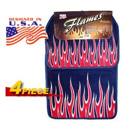 Red Flames Universal Carpet Car Floor Mat Set (4 Pcs)