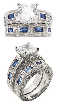 2.66ct SAPPHIRE SIMULATED ENGAGEMENT  WEDDING RING SET