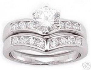 1.85ct BRILLIANT SIMULATED DIAMOND ENGAGEMENT WEDDING RING SET