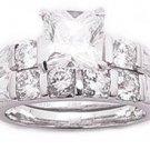 2.75ct PRINCESS CUT SIMULATED DIAMOND ENGAGEMENT WEDDING RING SET