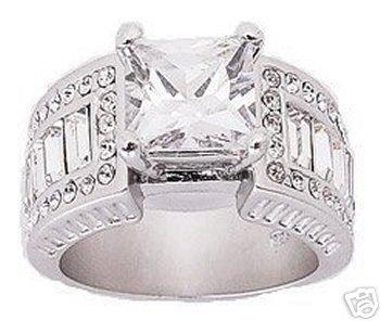 3.42ct PRINCESS CUT SIMULATED DIAMOND ENGAGEMENT WEDDING RING