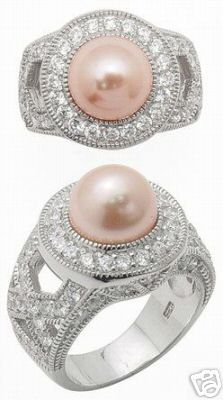 2.35ct PEARL SIMULATED DIAMOND ENGAGEMENT WEDDING RING SET
