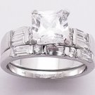 2.38ct PRINCESS CUT SIMULATED DIAMOND ENGAGEMENT WEDDING RING SET