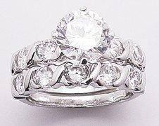 2.62ct BRILLIANT CUT SIMULATED DIAMOND ENGAGEMENT WEDDING RING SET