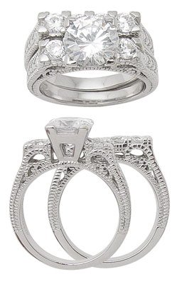 2.98ct BRILLIANT CUT SIMULATED DIAMOND ENGAGEMENT WEDDING RING SET