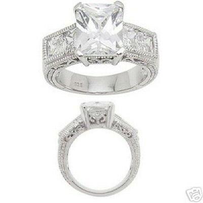 2.48ct EMERALD-CUT SIMULATED DIAMOND ENGAGEMENT WEDDING RING