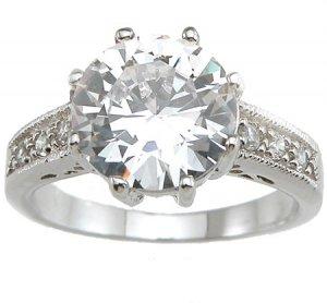 2.19ct BRILLIANT CUT SIMULATED DIAMOND ENGAGEMENT WEDDING RING