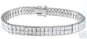 15.25ct PRINCESS CUT SIMULATED DIAMOND BRACELET
