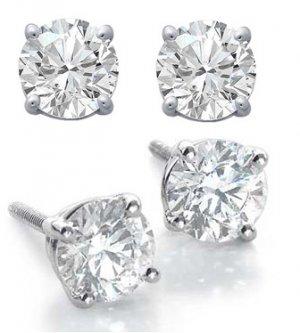 1.0ct ROUND BRILLIANT CUT SIMULATED DIAMOND EARRINGS