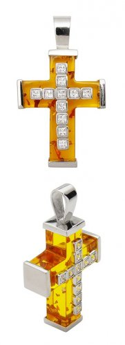 AMBER RESIN SQUARE CZ CROSS PEND