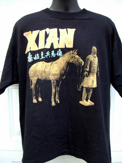 SOLD!  Rare Black Chinese XL T-Shirt from XIAN (XI'AN) CHINA ~~ Terra Cotta Warrior & Horse