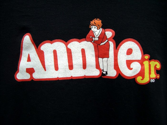 SOLD!  BROADWAY ANNIE Jr T SHIRT  Large Black T Shirt THEATER