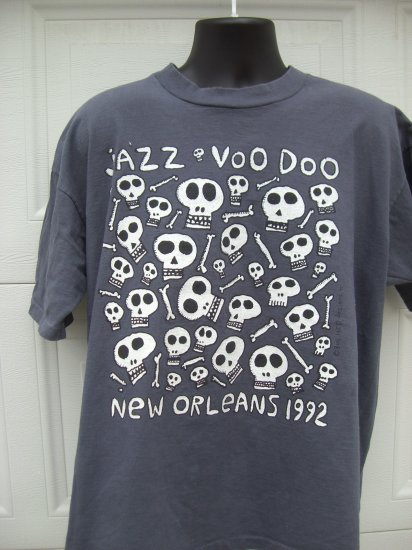 SOLD! New Orleans XL T Shirt 1992 Jazz VooDoo Voo Doo Theme Skull & Bones Rare