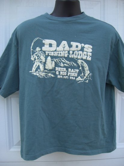 SOLD! Dad's Fishing Lodge Large T-Shirt Beer, Bait and Big Fish Since 1971