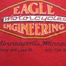 Rare Vintage EAGLE MOTORCYCLE Medium T-Shirt Red Closed Minneapolis MN Dealer