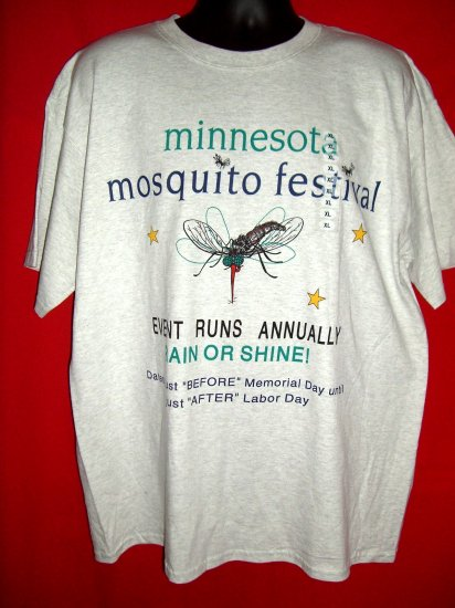 SOLD! FUNNY NEW XL T-SHIRT MINNESOTA MN MOSQUITO FESTIVAL Must Read! Camping Vacation