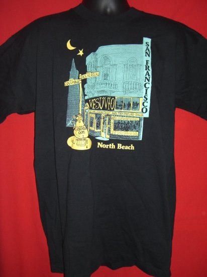 SOLD! San Francisco  VESUVIO Cafe Black Large T-Shirt California Cool!