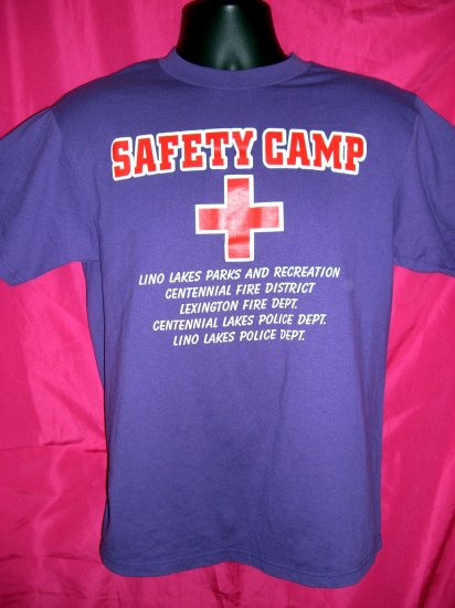 """RARE Small/Medium Purple T-Shirt  """"SAFETY CAMP"""" Police & Fire Department"""